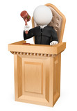 3D white people. Judge sentencing in court