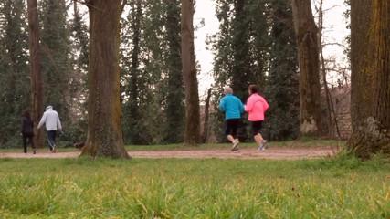 Podisti fanno jogging nel parco urbano, slow motion