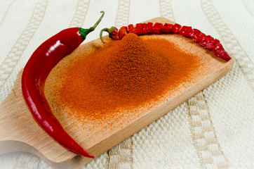 Two chili peppers and chili powder