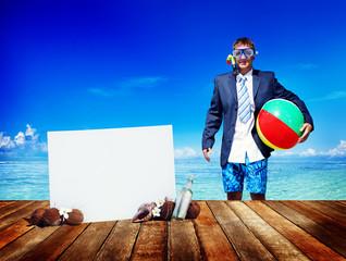 Businessman Business Travel Summer Beach Vacation Concept