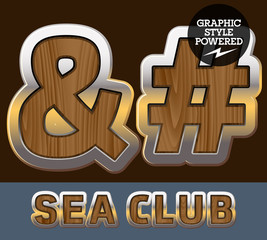 Elite old styled font in sea club theme. Symbols