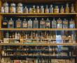 Leinwandbild Motiv Empty scent bottles in old pharmacy