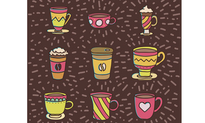 Coffee mugs and free pattern