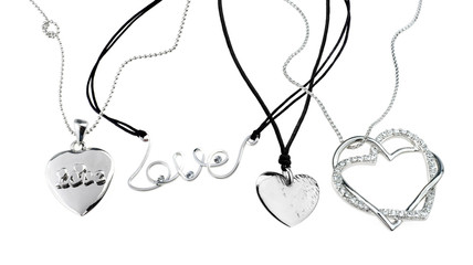 set of chains with heart pendants isolated on white