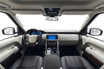 Car interior white dashboard and brown seats