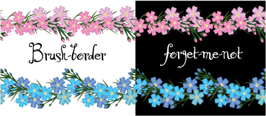 Brush border of flowers forget me not. vector.