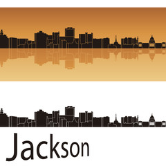 Jackson skyline in orange background