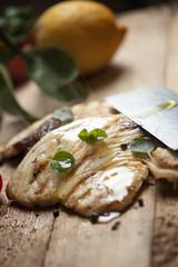 grilled sword fish steak slices