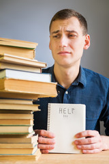 Young Student Stressed and Overwhelmed asking for Help