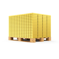 Stack of Golden Bars on a Wooden Pallet isolated on white