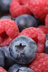 close up photo of ripe  blueberry and raspberry