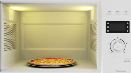 Close-up View of Open Microwave Oven with Pizza Inside