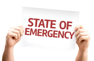 State of Emergency card isolated on white