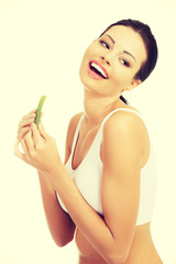 Beautiful woman with aloe vera.