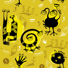 Seamless pattern of black funny monsters