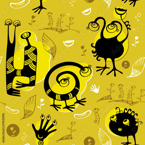 Seamless pattern of black funny monsters © bokasana
