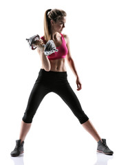 Sporty brunette girl with dumbbell
