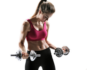 Fit girl with dumbbell