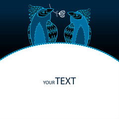 Greeting card with blue birds in love