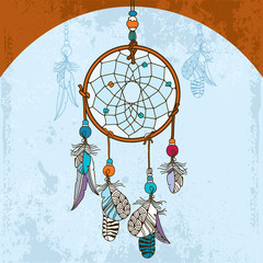 Нand drawn Indian Dream catcher on the grunge background
