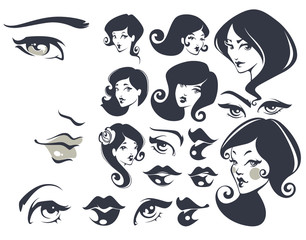 beautiful faces, vector woman collection