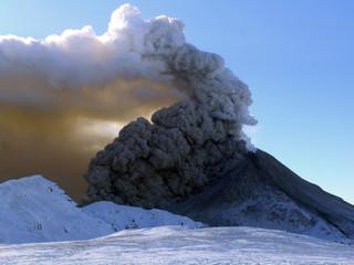 Active state of volcano Kizimen in Kamchatka