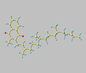 Phylloquinone molecule isolated on grey