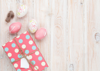 Easter eggs and gift box