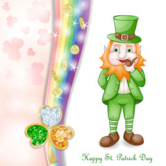 St. Patrick's Day card design with coins and clover