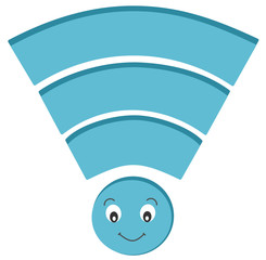Funny and cute wireless signal icon cartoon illustration