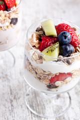 muesli with fruits and yogurt
