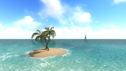 Island with palm trees on the background of the ocean. 1
