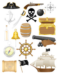 set of pirate icons vector illustration