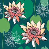 Seamless pattern with water lilies on a dark green background