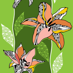 Seamless pattern with lilies on a light green background