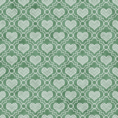Green and White Chevron Hearts Tile Pattern Repeat Background
