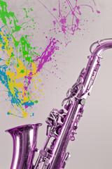 Saxophone Paint Splatters