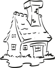 Nice fairy house with a huge chimney. Coloring page