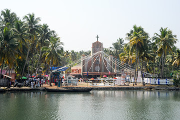 Decorated church near Kollam on Kerala backwaters