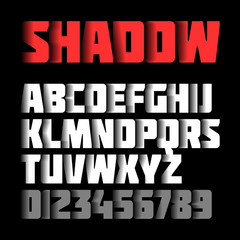 Shadow font, alphabet and numbers