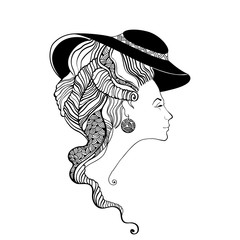 Beautiful lady head silhouette. Baroque style