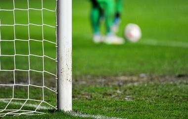 Goalkeeper preparing for goal kick