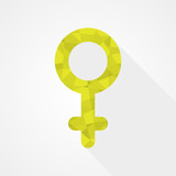 Female gender symbol. Low poly style. Flat design poster