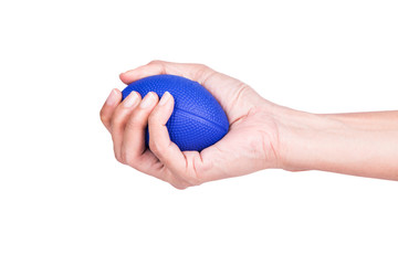 Hands of a woman squeezing a stress balls