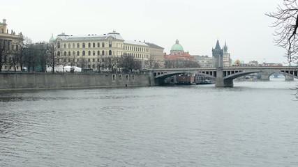 city buildings - bridge - river Vltava