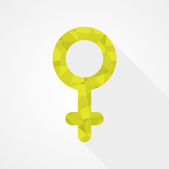 Female gender symbol. Low poly style. Flat design
