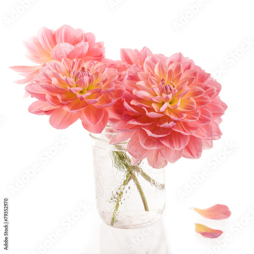 Foto op Canvas Dahlia Summer Dahlias in a jam jar vase