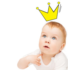 close up of happy baby with crown doodle