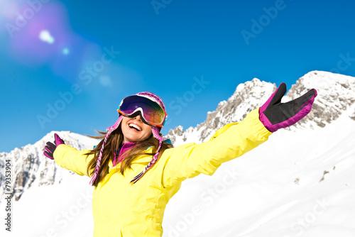 Leinwanddruck Bild Spass im Skiurlaub