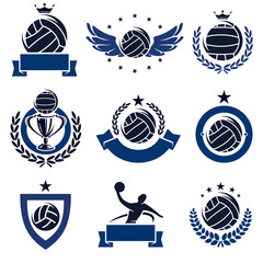 water polo labels and icons set. Vector